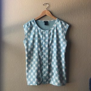 Ann Taylor | Checkered Blue Tank